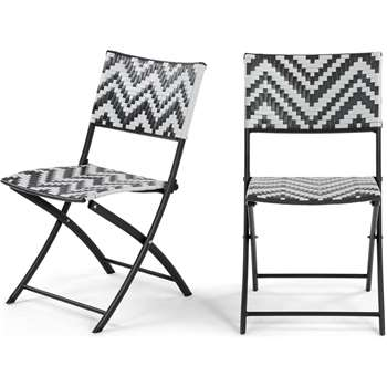 2 x Maui Outdoor Bistro Chairs, Monochrome (82 x 46cm)