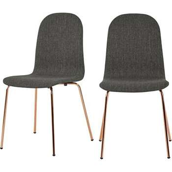 2 x Mino Dining Chairs, Pavillion Grey and Copper (86 x 43cm)