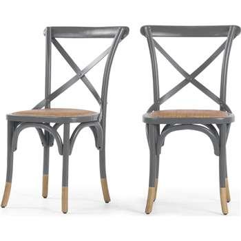 2 x Rochelle Dining Chairs, Birch Grey (87 x 51cm)