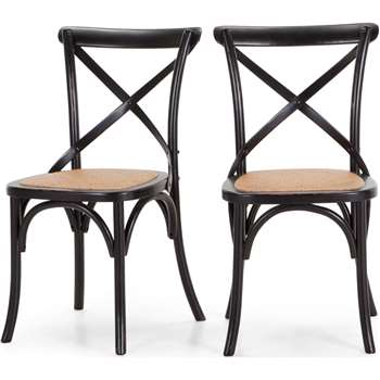 2 x Rochelle Dining Chairs, Black (87 x 51cm)