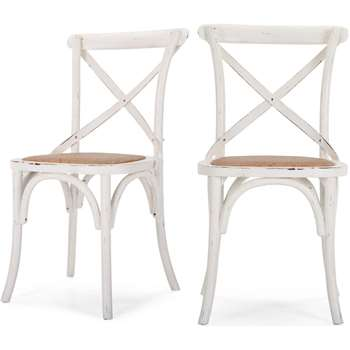 2 x Rochelle Dining Chairs. White (87 x 51cm)