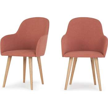 2 x Stig High Back Carver Dining Chairs, Dusk Pink and Oak (92 x 59cm)