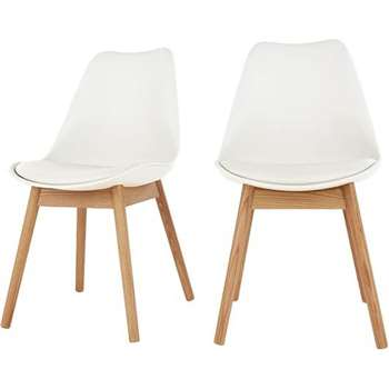 Set of 2 Thelma Dining Chairs, Oak and White (H86 x W49 x D54cm)