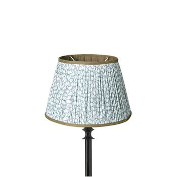 25cm Guilloche Pleated Cotton Drum Lampshade - Blue (Width: 25cm)