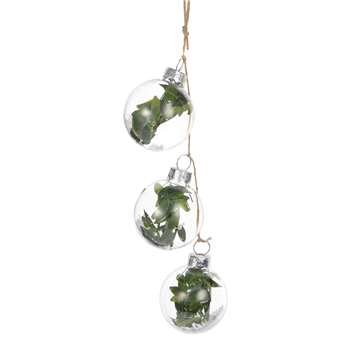 3 Glass Baubles with Foliage Detailing Christmas Hanging Decoration (H4 x W4 x D4cm)