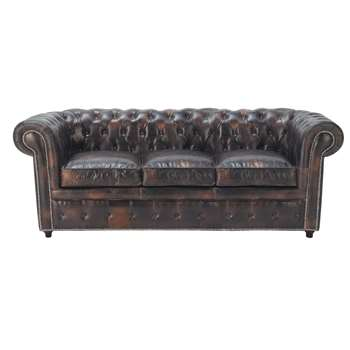 3 seater Chesterfield leather button sofa in mocha brown