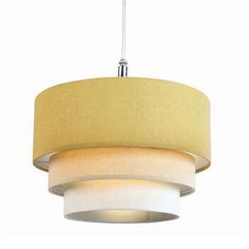 3-Tier Linen Pendant Light Shade Ochre (H19 x W28 x D28cm)
