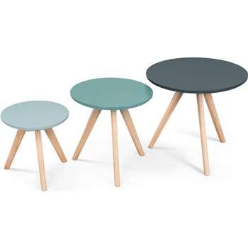3 x Orion Side Tables, Blue (45 x 50cm)