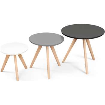 3 x Orion Side Tables, Grey (45 x 50cm)