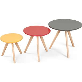 3 x Orion Side Tables, Multicolour (45 x 50cm)