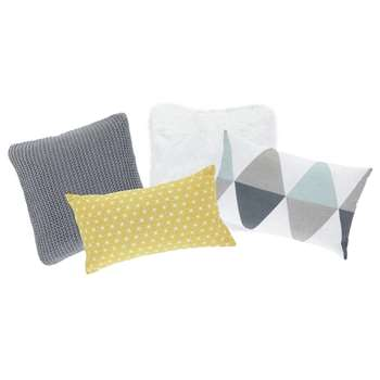 4 NORDIQUE cotton cushions, multicoloured 25 x 40cm - 30 x 50cm