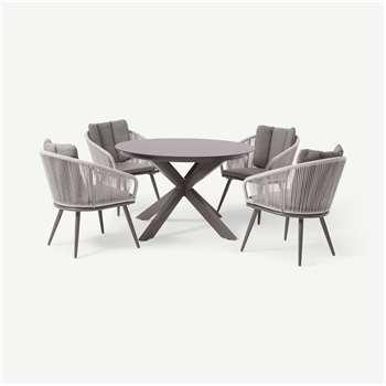 4 Seat Round Garden Dining Set, Grey & Natural White (H72 x W118 x D118cm)