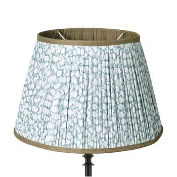 45cm Guilloche Pleated Cotton Drum Lampshade - Blue (Width 45cm)