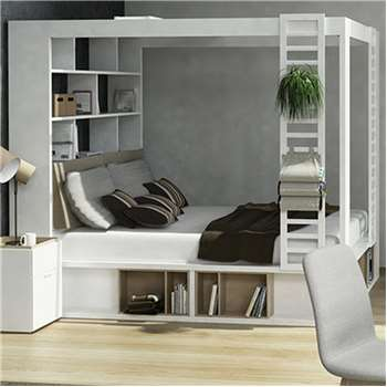 4You 4 Poster King Bed with Storage & Shelves in White 206 x 238cm