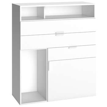 4You Sideboard with 3 Drawers & Cupboard in White 118 x 99.5cm