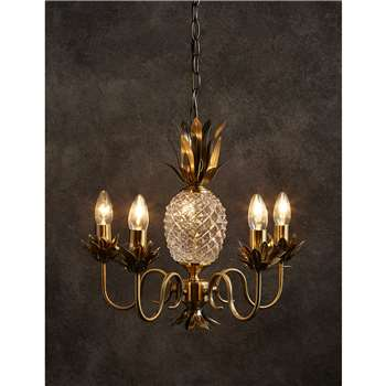 5 Light Puerto Chandelier, Antique Brass