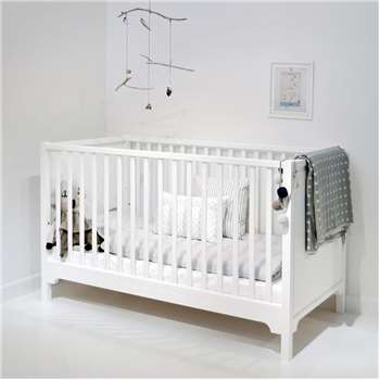 6 in 1 Baby & Toddler Luxury Cot Bed in White (88 x 143cm)