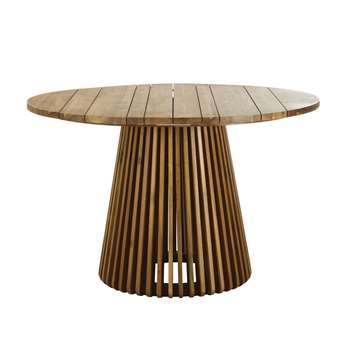 6-person professional round garden table in acacia (H76 x W120 x D120cm)
