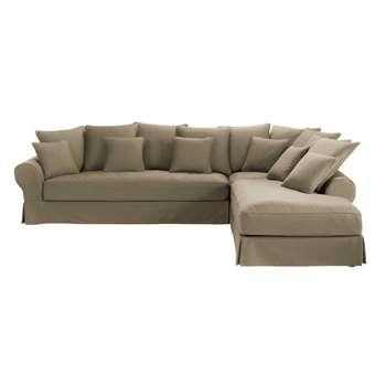 6-seater taupe cotton right hand corner sofa Bastide (86 x 315cm)