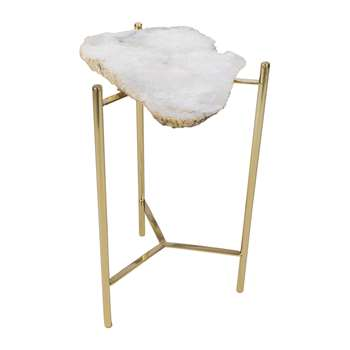 A by Amara - Agate Slab Side Table - White (H54 x W33 x D33cm)
