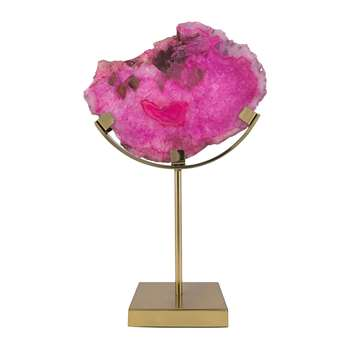 A by Amara - Agate Slice Object - Purple/Pink (H37 x W25 x D13cm)