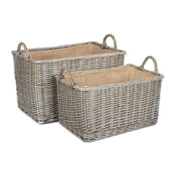 A by Amara - Antique Wash Rectangular Hessian Lined Basket - Set of 2 (H32 x W55 x D32cm)