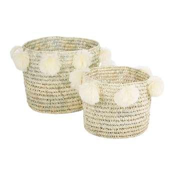 A by Amara - Bahia Pom Pom Baskets - Set of 2 - Cream