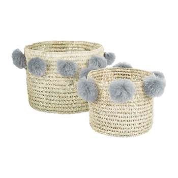 A by Amara - Bahia Pom Pom Baskets - Set of 2 - Grey