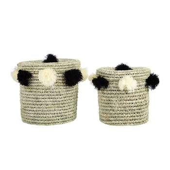 A by Amara - Bahia Pom Pom Baskets with Lid - Set of 2 - Black/Cream (Height 40cm)
