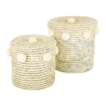 A by Amara - Bahia Pom Pom Baskets with Lid - Set of 2 - Cream