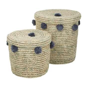 A by Amara - Bahia Pom Pom Baskets with Lid - Set of 2 - Grey