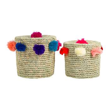 A by Amara - Bahia Pom Pom Baskets with Lid - Set of 2 - Multicolour (Height 40cm)