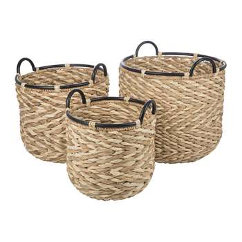 A by Amara - Bibury Woven Baskets - Set of 3 (H44 x W40 x D40cm)