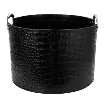 A by Amara - Black Croc Leather Storage Basket (H27 x W40 x D40cm)