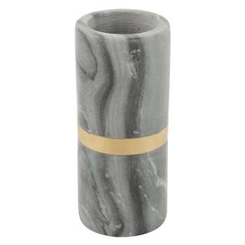 A by Amara - Black Marble Tealight/Taper Candle Holder (H14 x W6 x D6cm)