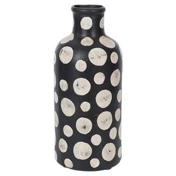 A by Amara - Black & White Spot Tall Vase (H30 x W13 x D13cm)