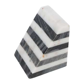 A by Amara - Black & White Striped Marble Bookends - Set of 2 (H11.5 x W10 x D10cm)