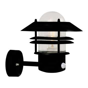 A by Amara - Blokhus Sensor Outdoor Wall Light - Black (H23 x W22 x D22cm)