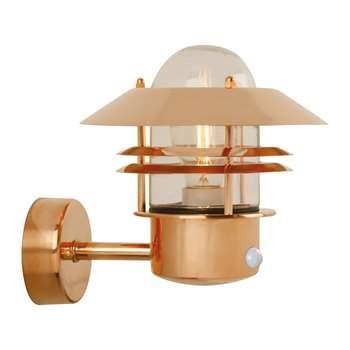 A by Amara - Blokhus Sensor Outdoor Wall Light - Copper (H23 x W22 x D22cm)
