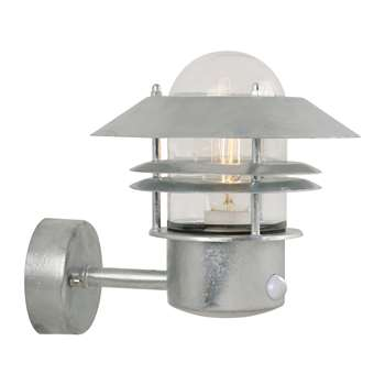 A by Amara - Blokhus Sensor Outdoor Wall Light - Galvanized Steel (H23 x W22 x D22cm)