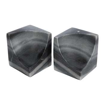 A by Amara - Carved Marble Bookends - Set of 2 - Black (H10 x W8 x D8cm)