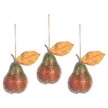 A by AMARA Christmas - Beaded Pear Tree Decoration - Set of 3 (H5 x W3.5 x D3.5cm)