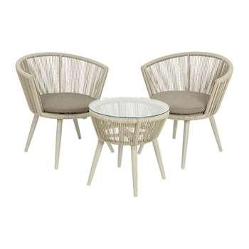 A by Amara - Copenhagen Coffee Table and Chair Set - Grey (H72 x W68 x D62cm)