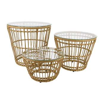 A by Amara - Corsica Wicker Side Table - Set of 3 (H30 x W47 x D47cm)