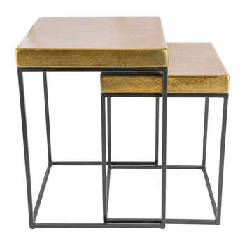 A by Amara - Cube Side Tables - Set of 2 - Antique Brass (H56 x W41 x D41cm)