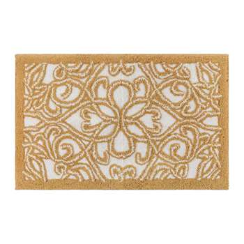A by Amara - Damask Bath Mat - Gold/White (H50 x W50cm)