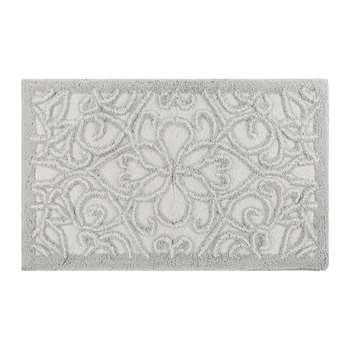 A by Amara - Damask Bath Mat - Silver/White (H50 x W80cm)