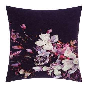 A by Amara - Dark Floral Velvet Cushion (H45 x W45cm)