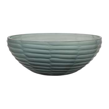 A by Amara - Dash Glass Bowl - Indigo Blue (H9 x W27 x D27cm)