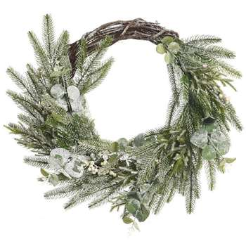 A by Amara - Deco Frosted Berry Wreath - Green/White (Diameter 50cm)